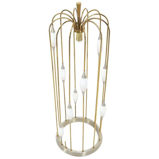 Large Waterfall Brass Floor Lamp Light Fixture For Sale - Image 12 of 12