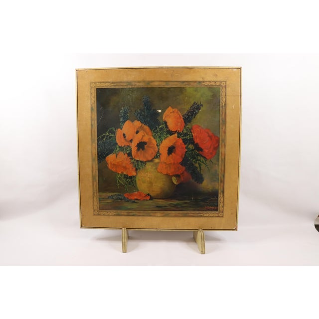 Vintage 50s Bridge Tables & Novelties M Streckenbach Poppy Flowers Table Stand Table Has wear and scratches on the...