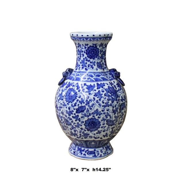 Chinese Blue White Porcelain Oval Lotus Flower Vase Chairish