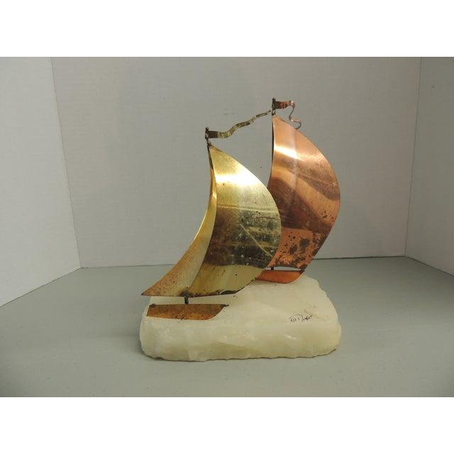 Vintage Brass & Copper Sailboat Sculpture - Image 2 of 4