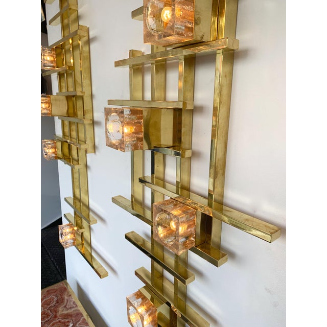 Gold Contemporary Brass Murano Glass Cubic Sconces. Italy For Sale - Image 8 of 11