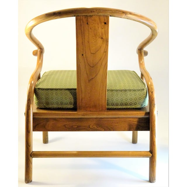 Vintage Chinese Horseshoe Elm Wood Chair For Sale - Image 4 of 13