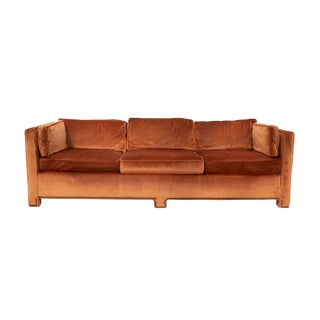 Parsons Sofa in Original Burnt Orange Velvet For Sale