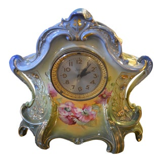 "Royal Bonn ""La Layon"" German Hand Painted Porcelain Mantel Clock For Sale"