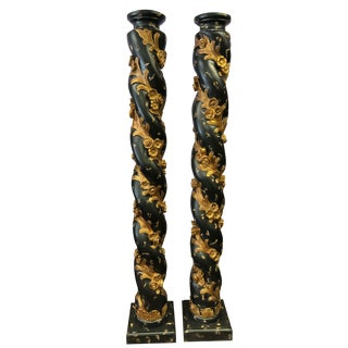 1990s Victorian Carved Black and Gold Wood Pillars/Columns - a Pair For Sale