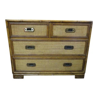 1960s Vintage Mid Century Modern Drexel Rattan Chest Of Drawers For Sale