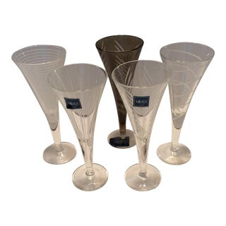 Mikasa Etched Crystal Assorted Cordial Glasses - Set of 5 For Sale