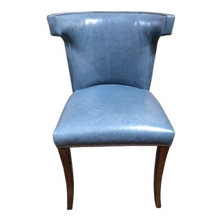 Williams-Sonoma Home Regency Blue Leather Chair