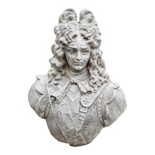 Large French King Louis XIV Bust Cast Stone Statue For Sale
