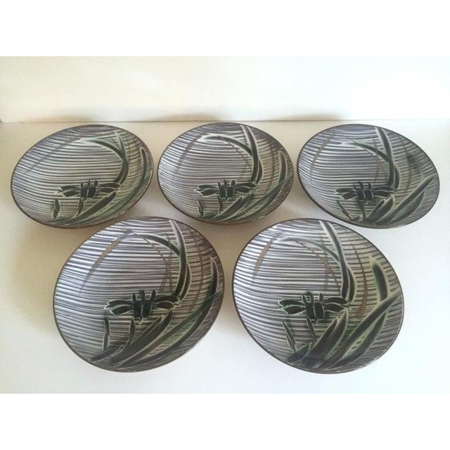 Vintage Mid-Century Modern Occupied Japan Irises Ceramic Plate Bowls - 5pc Set For Sale - Image 5 of 11