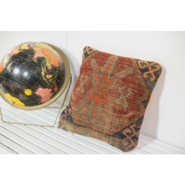 Boho Chic Antique Caucasian Rug Fragment Pillow For Sale - Image 3 of 5