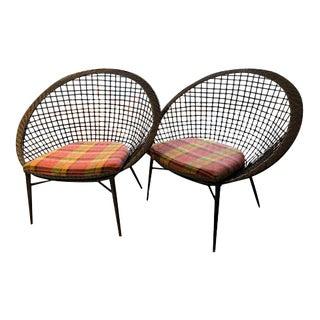 Modern Gray Rattan Chairs - A Pair