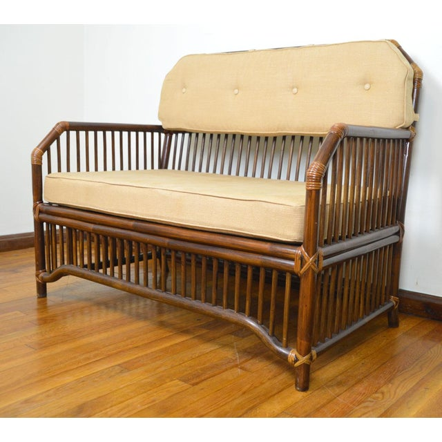 1980s Vintage Rattan Settee in the Manner of Willow and Reed For Sale - Image 13 of 13
