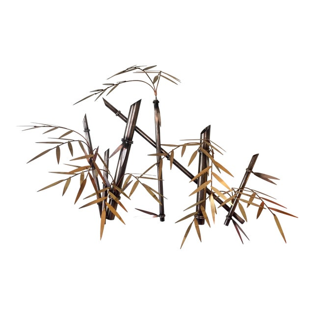 C. Jere Style Metal Faux Bamboo Wall Sculpture For Sale