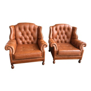Vintage 20th Century Belgium Tan Leather Chesterfield Wingback Chairs - a Pair For Sale