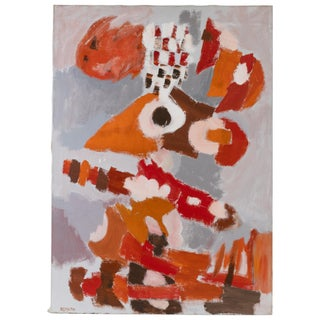 1971 Jacob Semiatin Abstract Oil on Canvas Painting For Sale