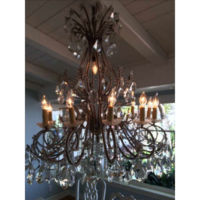 Crystal & Brass French Chandelier - Image 3 of 3