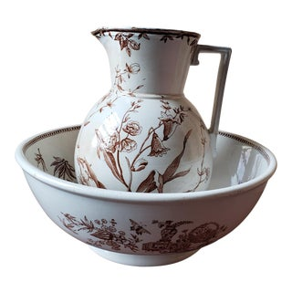 Antique Victorian Brown Transferware English Ironestone Pitcher and Bowl Set - 2 Pieces For Sale