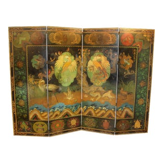 Stuart Travis Art Deco Painted Asian Style Folding Screen with Bird Scenery For Sale