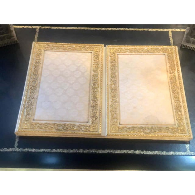 Metal Fine Gilt Bronze and Fabric Fold Desk Blotter Possibly J Caldwell - a Pair For Sale - Image 7 of 13