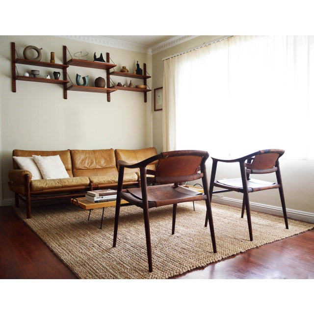Brown Vintage Rolf Rastad & Adolf Relling for Gustav Bahus Leather Bambi Chairs- a Pair For Sale - Image 8 of 9