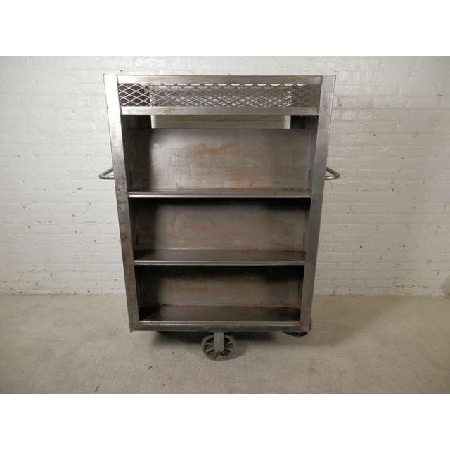 Large Industrial Metal Rolling Cart For Sale - Image 9 of 9