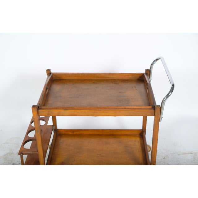 Mid-Century Modern Mid-Century Wooden Bar Cart For Sale - Image 3 of 11