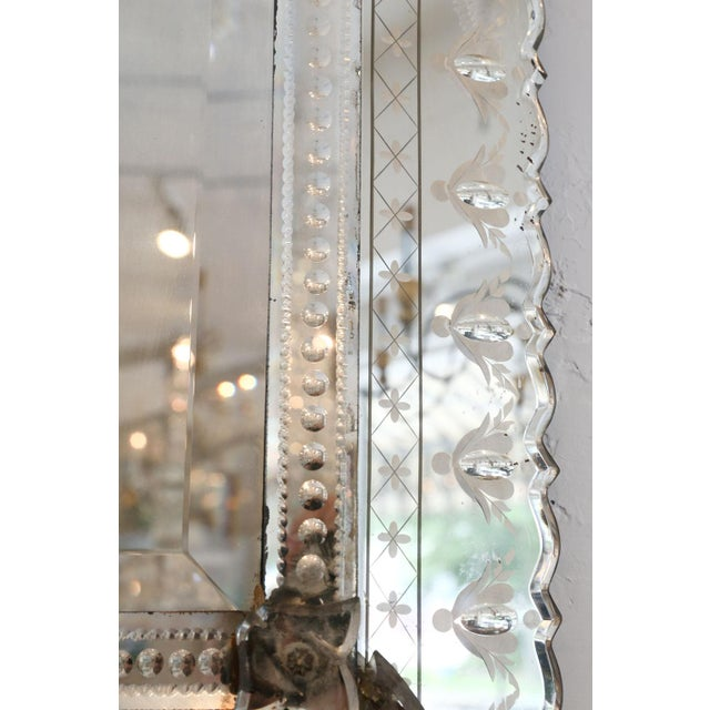 Italian Large Rectangular Venetian Mirror For Sale - Image 3 of 12