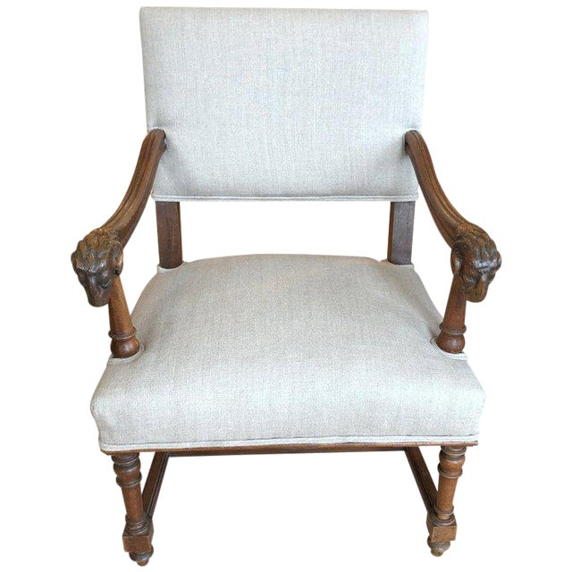 Handsome Carved Walnut and Linen Armchair For Sale