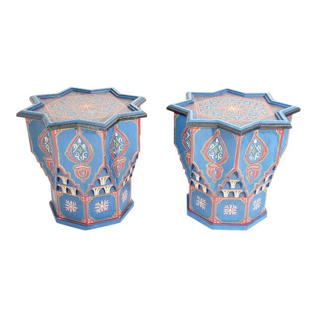 Moorish Star Shape Blue Side tables - A Pair For Sale