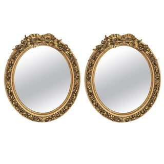 Pair of French Louis XV Style Gilt Oval Mirrors For Sale