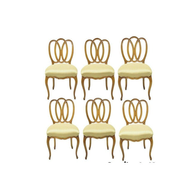 1950s Vintage French Provincial Triple Oval Pretzel Back Walnut Dining Chairs- Set of 6 For Sale - Image 11 of 11