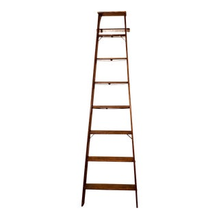 Antique Tall Distressed Display Ladder For Sale