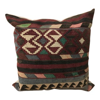 Turkish Large Kilim Pillow From Rug Fragments For Sale