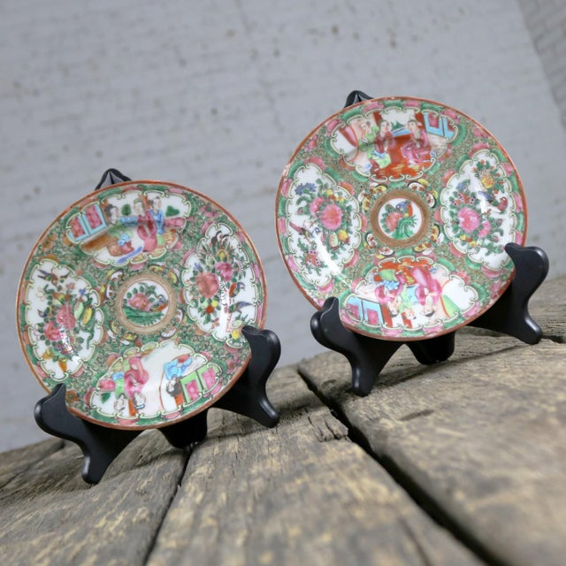 Pink Antique Chinese Qing Rose Medallion Porcelain 6 Inch Plates Set of 4 For Sale - Image 8 of 13