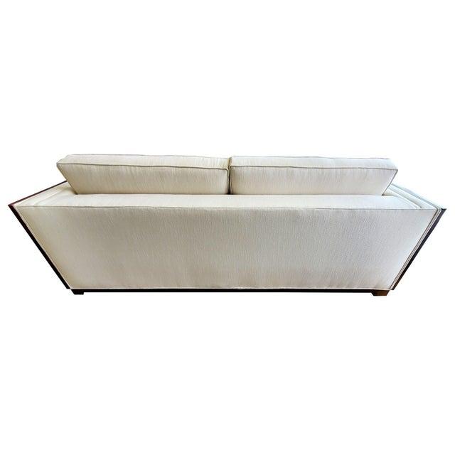 Mid-Century Modern Thomasville Furniture Ernest Hemingway Moncado Mahogany Art Deco Sofa For Sale - Image 3 of 10