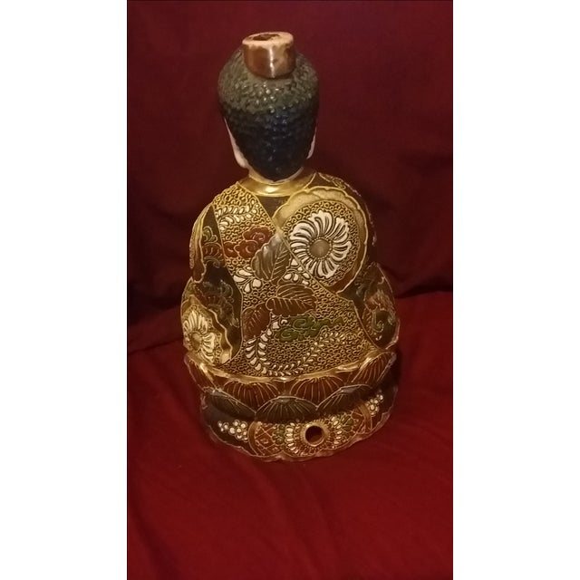 Vintage Hand Painted Gold Gilt Porcelain Buddha - Image 5 of 8