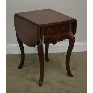 Victorian Walnut Antique Drop Side Sewing Table Preview