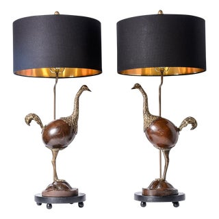 Rare Ostrich Table Lamps With New Black and Gold Lined Shades A-Pair