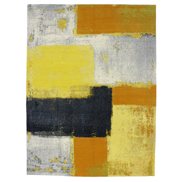 """Silk Modern Style Contemporary Abstract Color Block Rug - 9' x 12'1"""" For Sale - Image 7 of 8"""