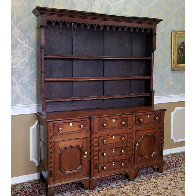 English Traditional 19th Century Antique Oak Inlaid Welsh/Jacobean Style Dining Room Hallway Cabinet Cupboard Hutch For Sale - Image 3 of 11