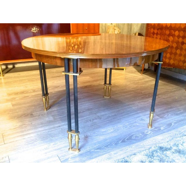 Jules Leleu Documented, 1950s, Design Round Extendable Dining Table For Sale - Image 6 of 7