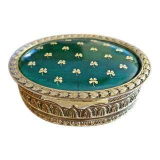 19c Irish Gilt Metal and Green Enamel Ring Box Ft Lucky Clovers For Sale