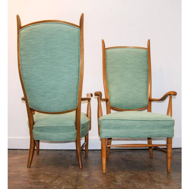 Wood 1950's Maxwell Royal American Designed High Back Upholstered Chairs - a Pair For Sale - Image 7 of 8