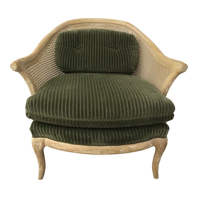 1960s Faux Bois / Cane Arm Chair With Green Corduroy For Sale