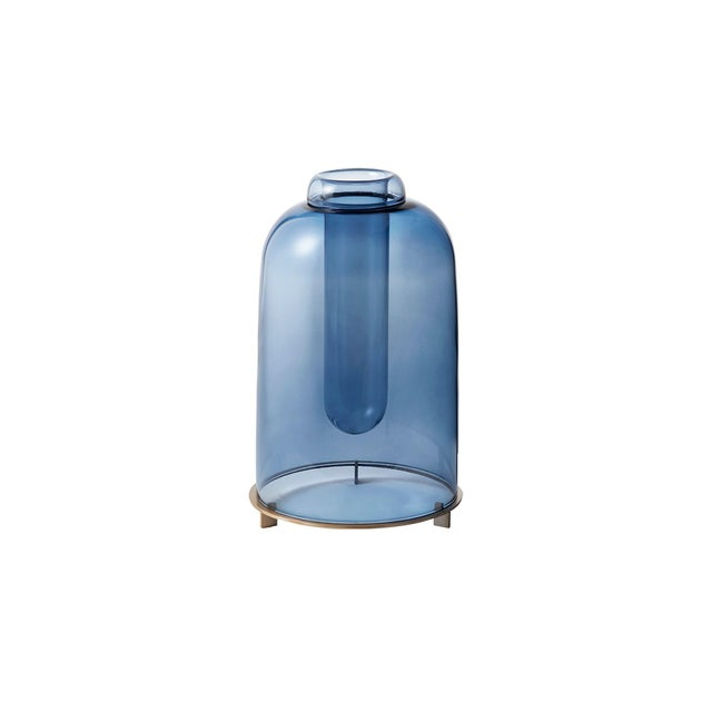 Blue Blown Glass Vase the Short by Paola C for Design Italy For Sale - Image 6 of 6