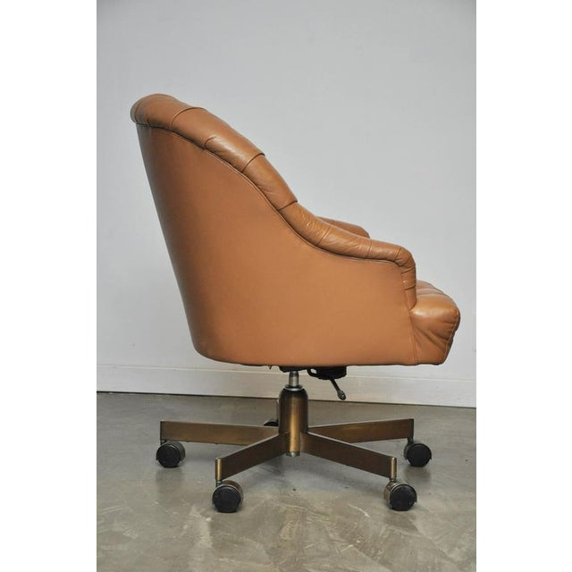 Dunbar Tufted Leather Desk Chair on Bronze Base by Edward Wormley - Image 4 of 6