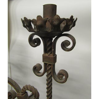 Vintage Six Foot Hand Forged Wrought Iron Candelabras, Ornate - a Pair Preview
