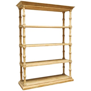 Rustic Washed Pine Bookcase For Sale