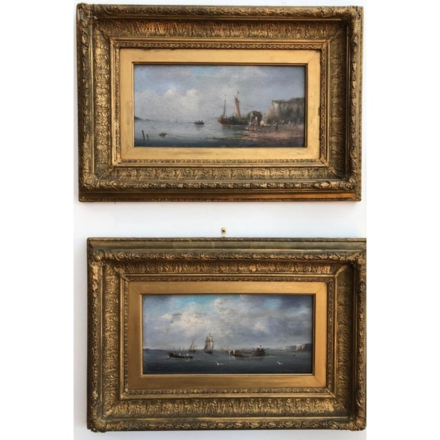 Lovely pair of signed (Gilbert) oil paintings on board. Both seascapes appear to have the white cliffs of Dover in the...